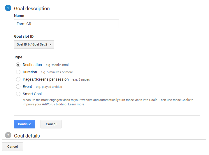track form conversions in google analytics through a destination type goal