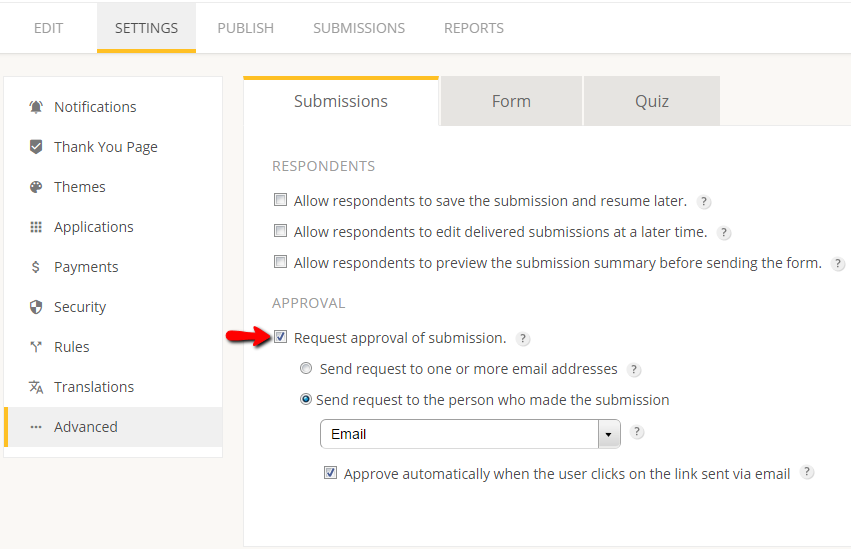 create approval system for web forms