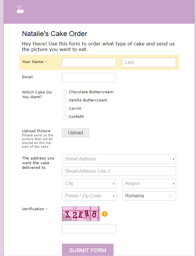 cake order form with upload