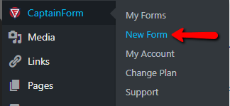 create new form for WordPress with CaptainForm form plugin