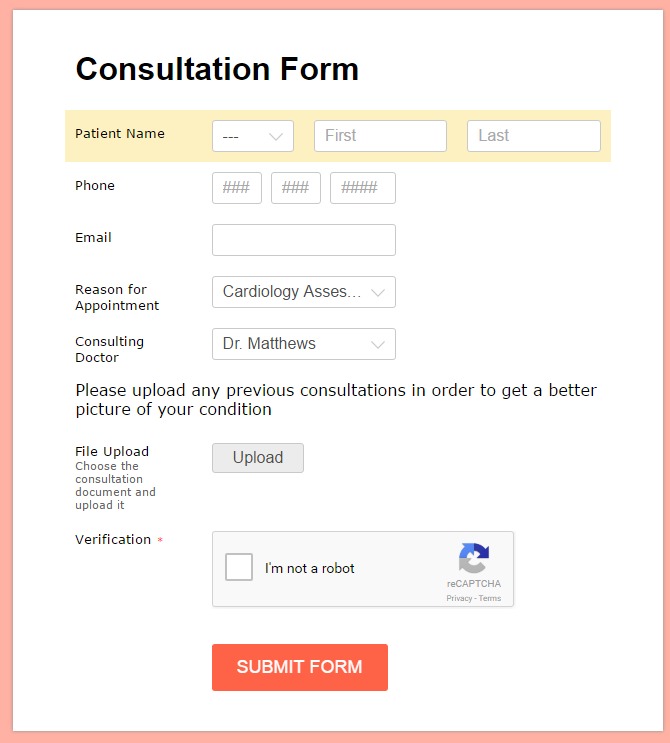 consultation form with upload