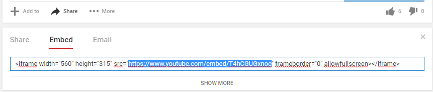 YouTube embed URL
