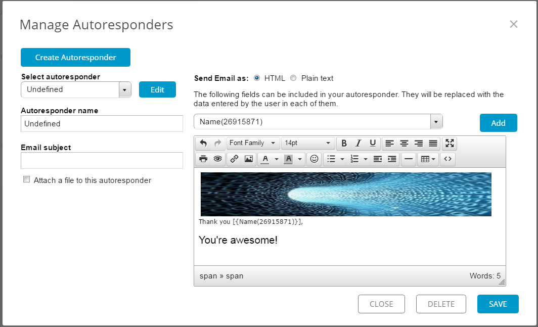 create autoresponder for event registration form