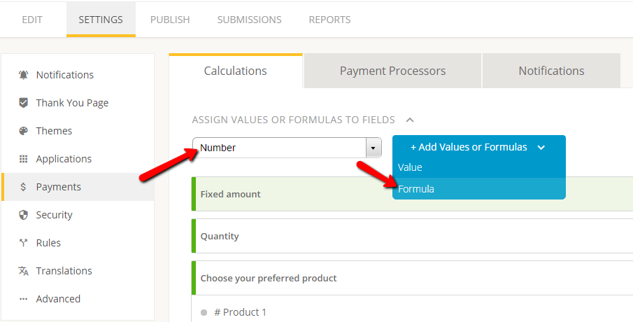creating calculation formula on order form - payments section