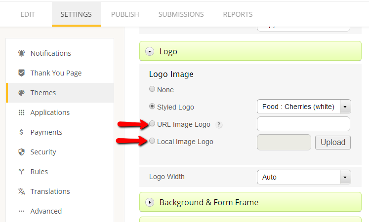 custom logo web form
