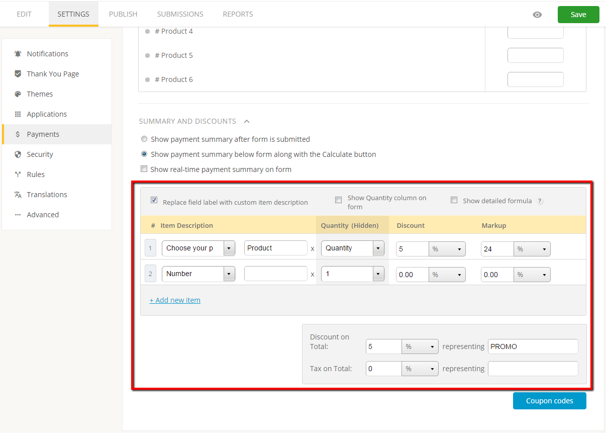 create payment summary for web forms