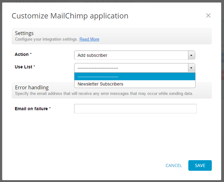customize mailchimp app for online forms