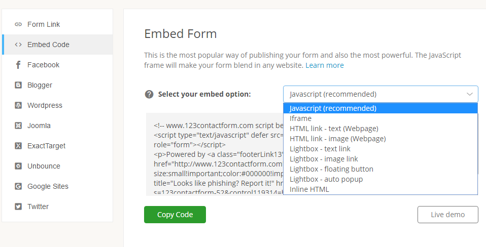 publishing form in embed mode
