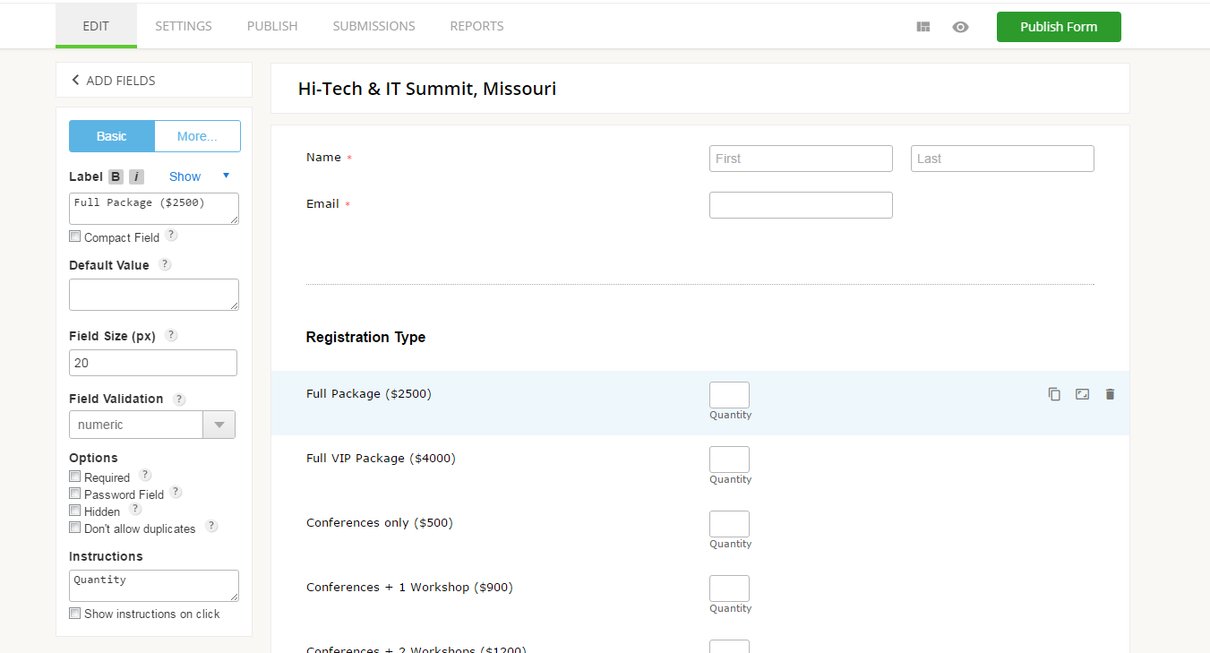 create event registration form