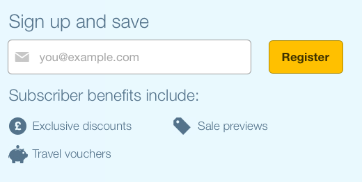 expedia's newsletter form with yellow button and benefits written below the field