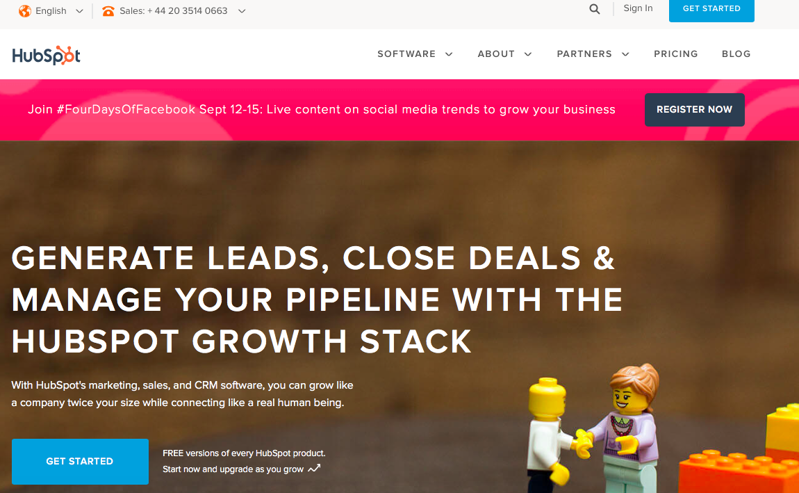 hubspot page for lead generation