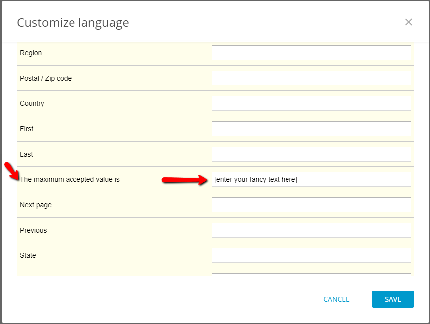 translating maximum value text for the event registration form
