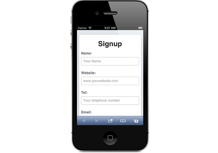 picture of a sign up form displaying in a mobile phone