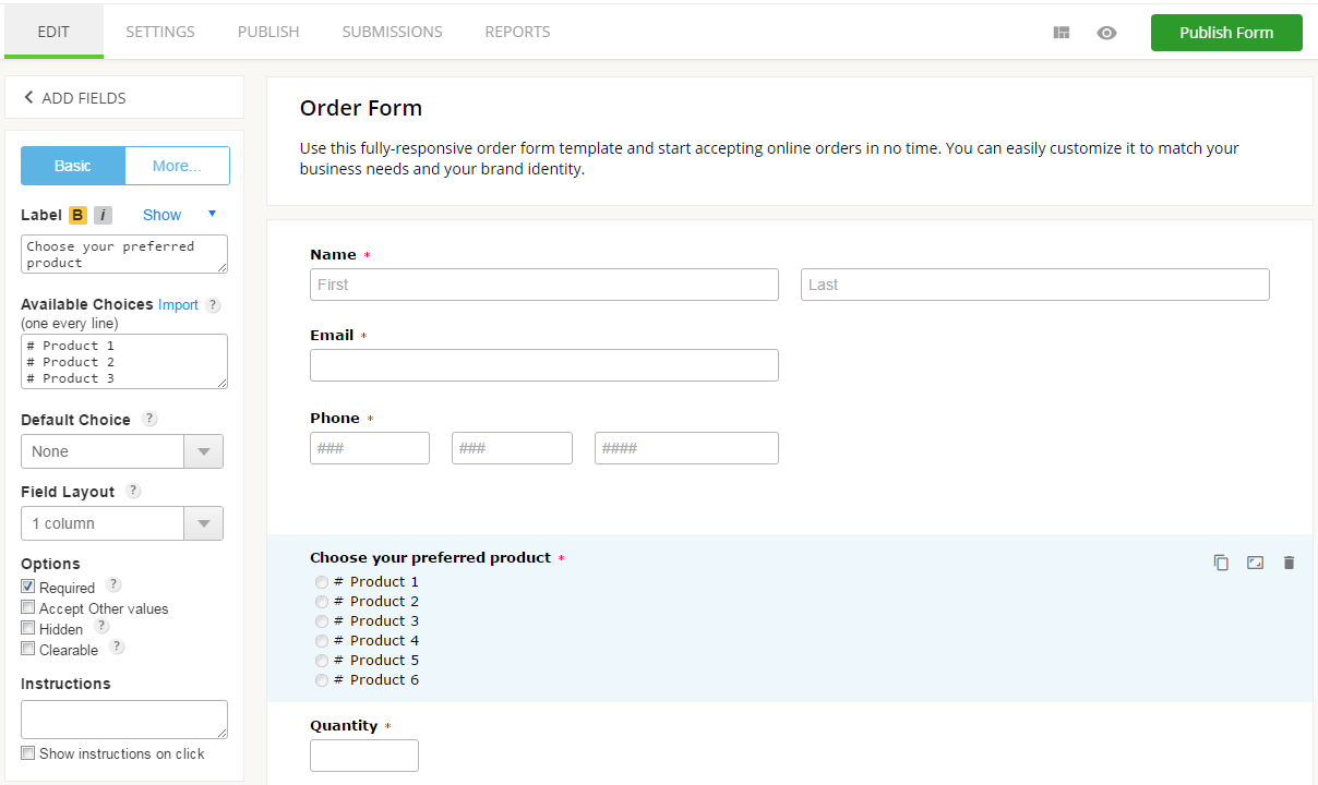 how to create an online order form with 123formbuilder