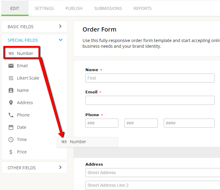 creating calculation formula on order form