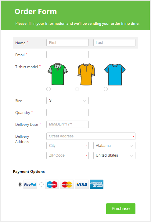 payment form with payment options