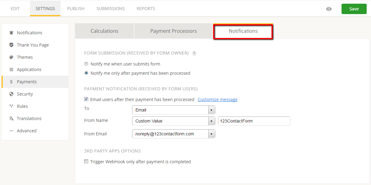 creating payment notifications for order form