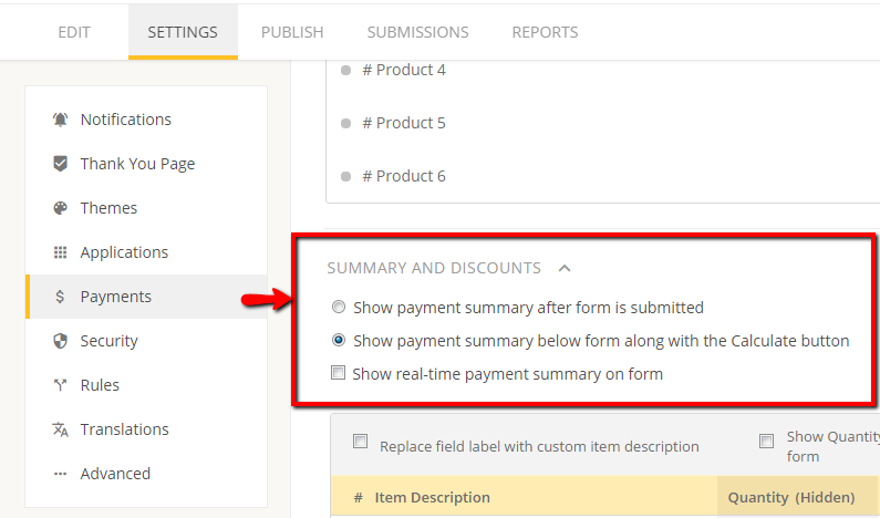 create payment summary for web form