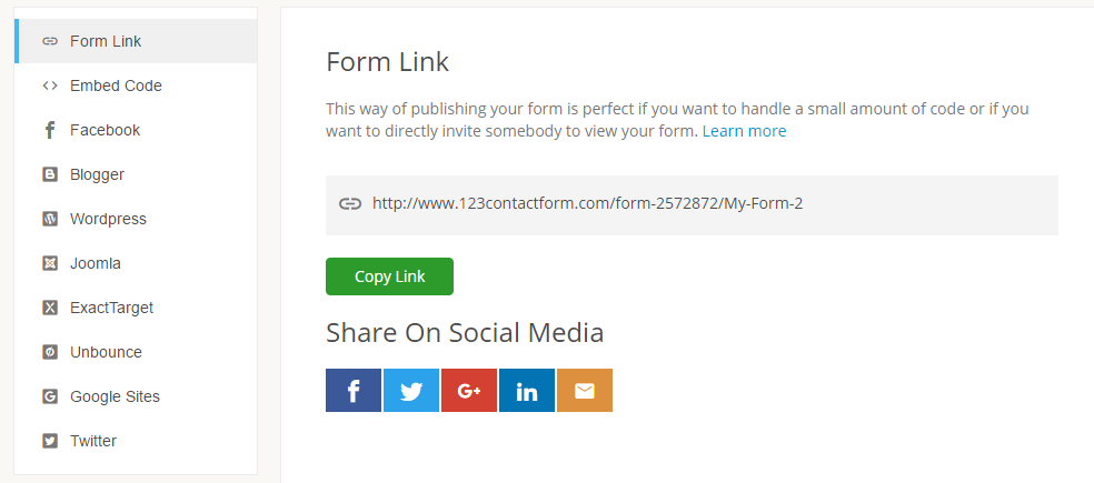 publishing form anywhere by link