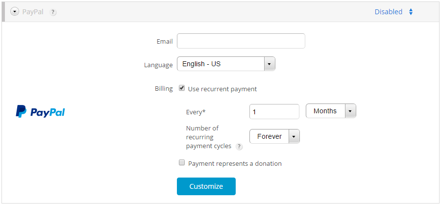 online recurring payments form