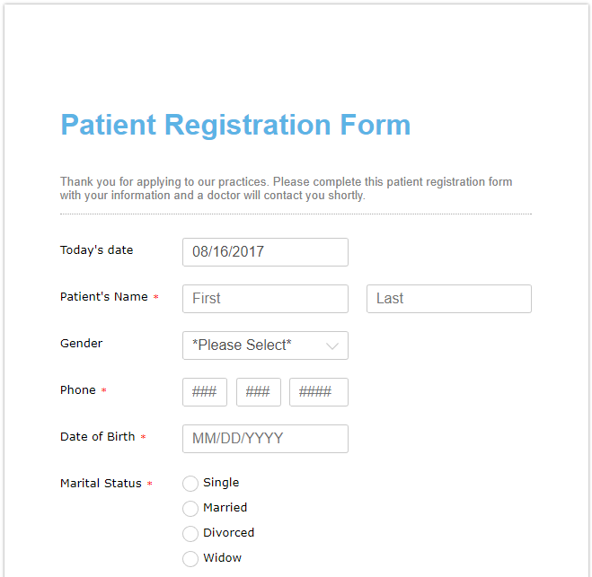registration form with international phone number format