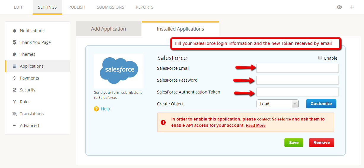 salesforce forms with 123contactform