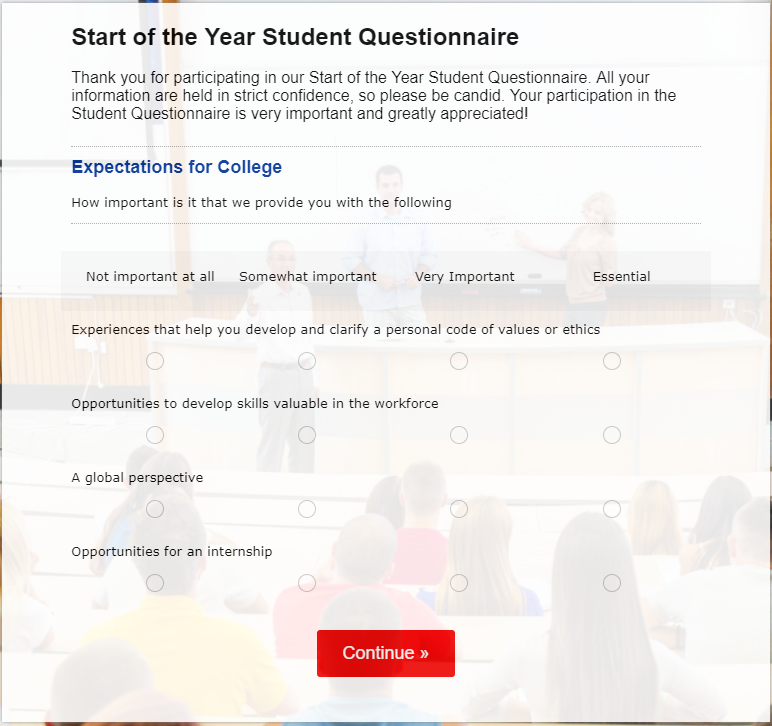 beginning of the year student questionnaire