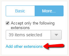 upload custom file extensions through web form