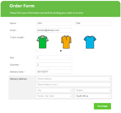 Create online order forms that really sell 123ContactForm – Delivery Order Form Template