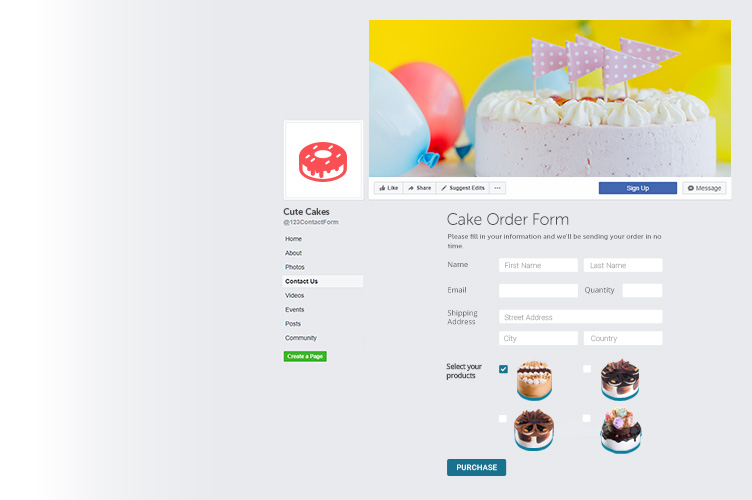 stylish order form within Facebook page