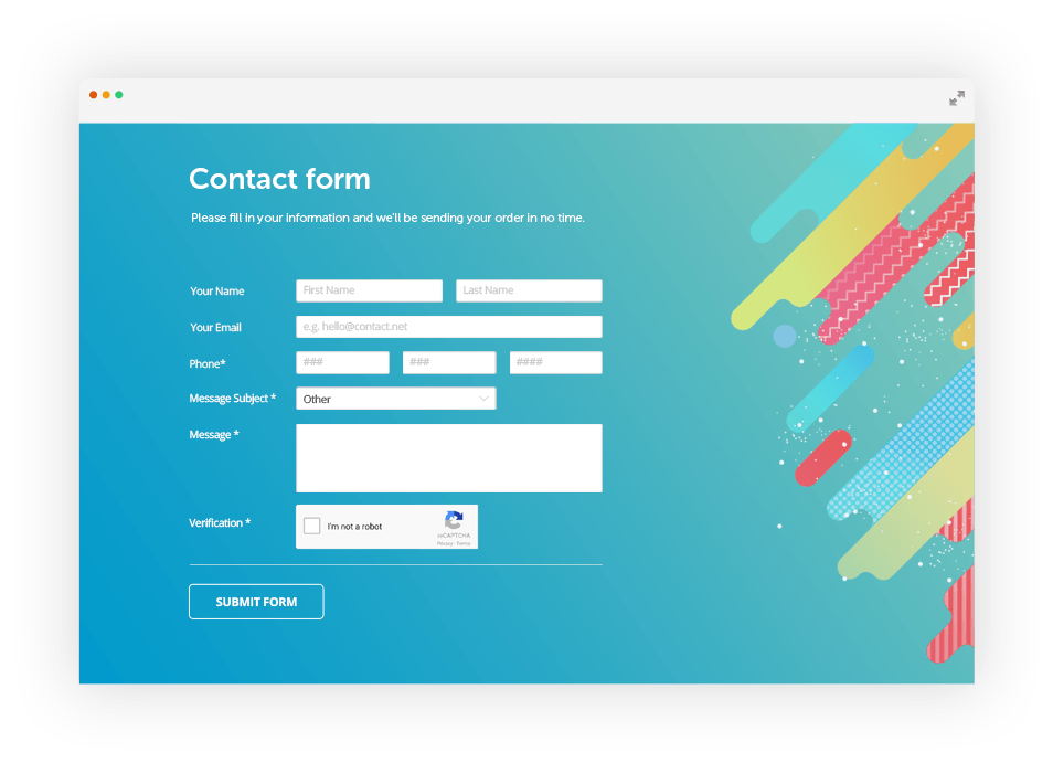 Web form builder for contact forms