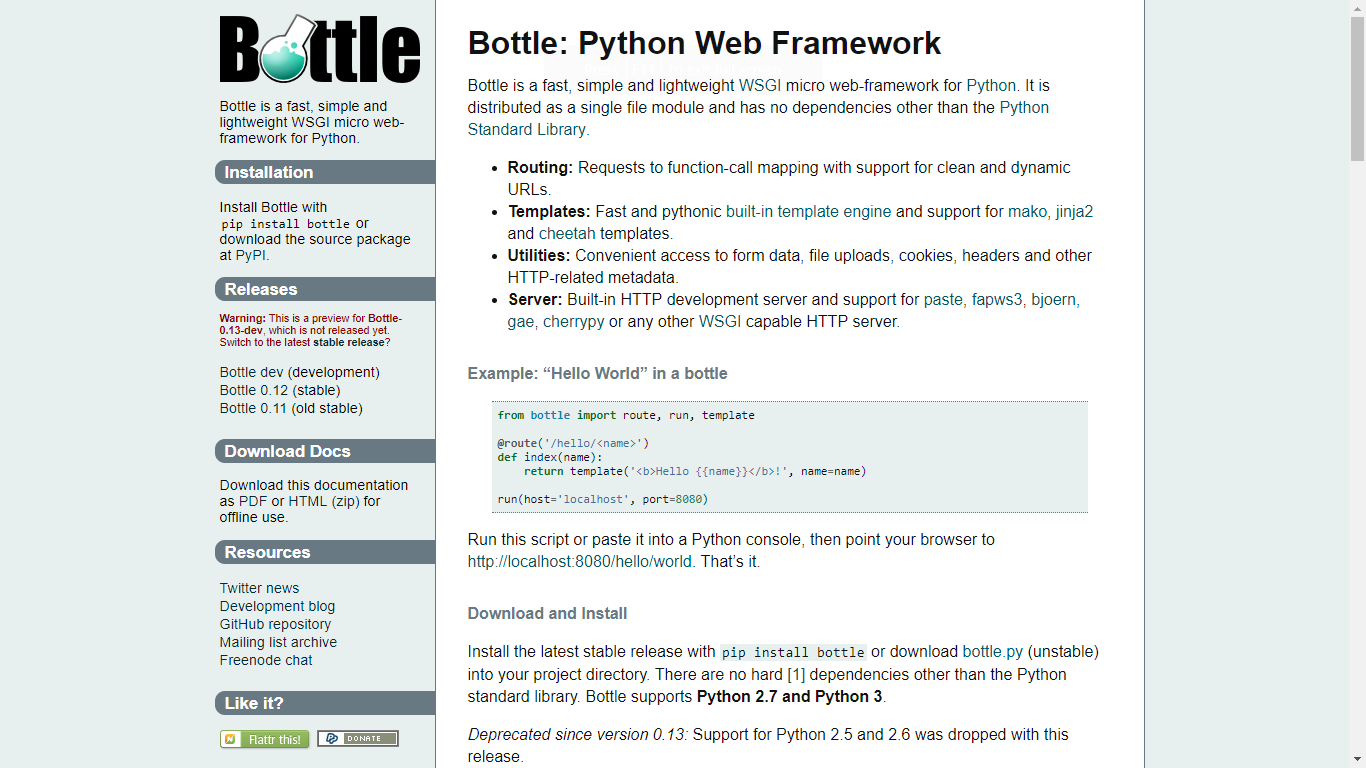 Bottle - Fast, simple and lightweight WSGI micro web-framework for
