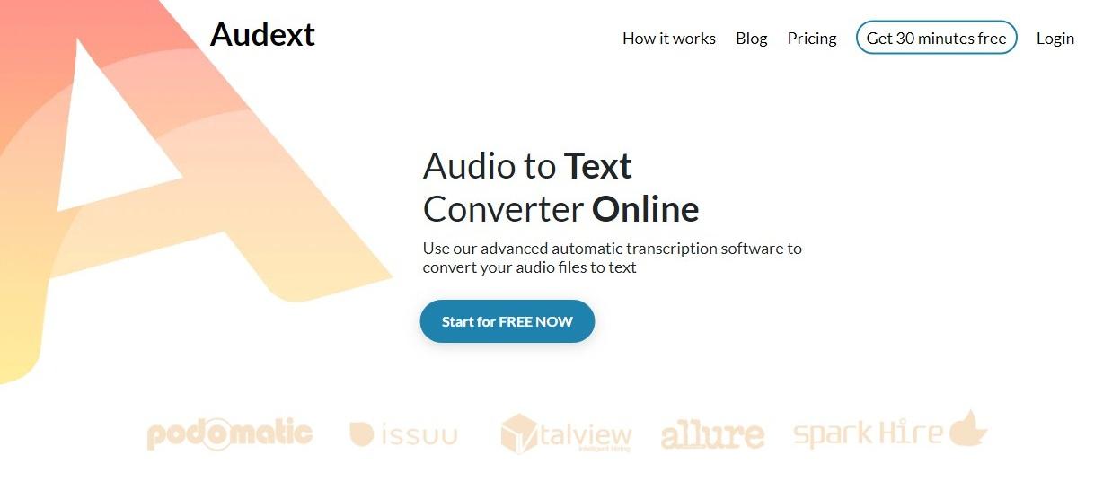 Audext speech to text converter