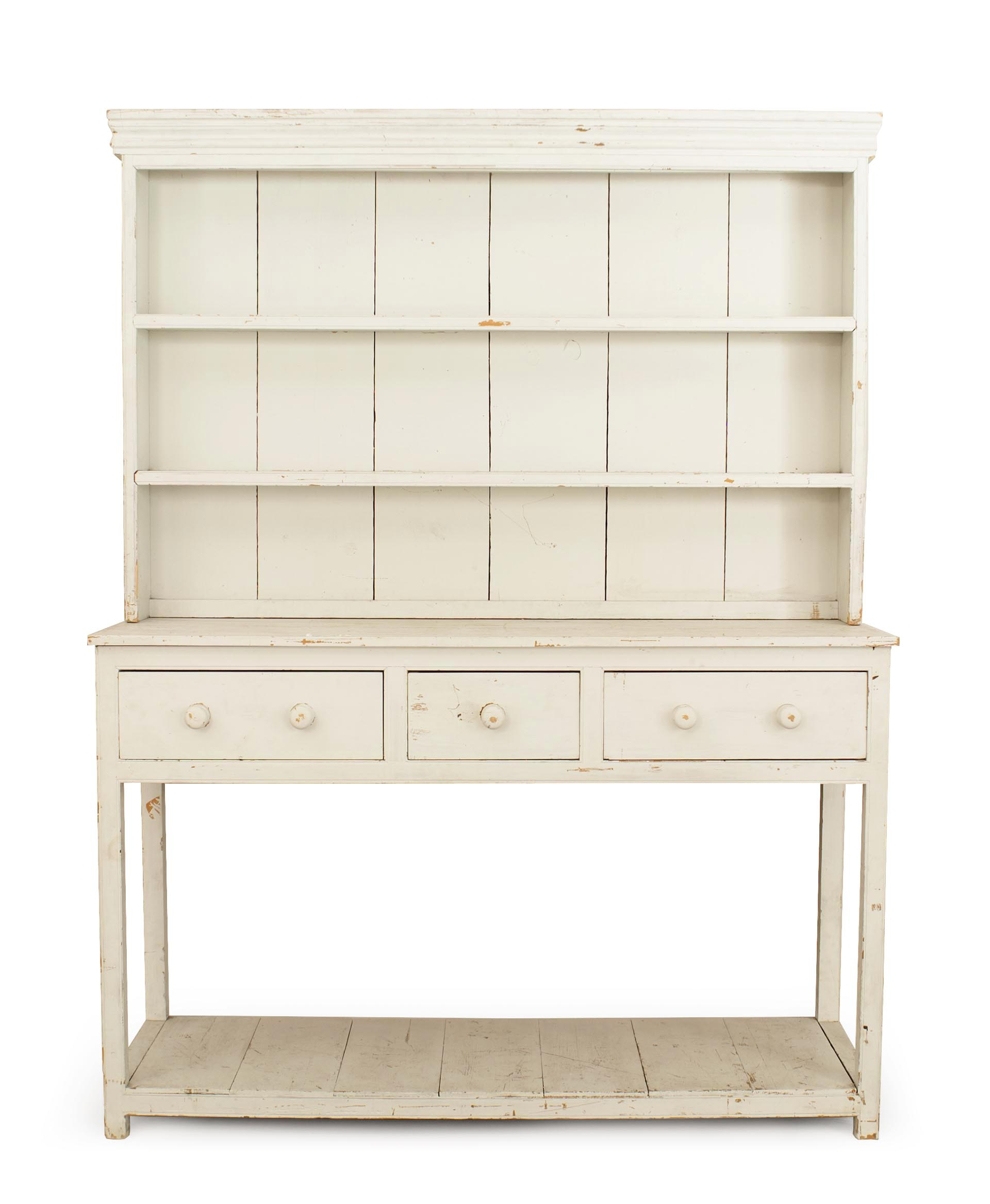 American Country Antique White Hutch 1 Newel