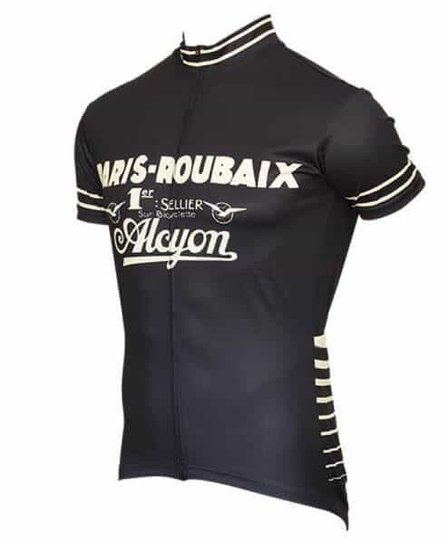 paris roubaix retro cycling jersey for men front right blue
