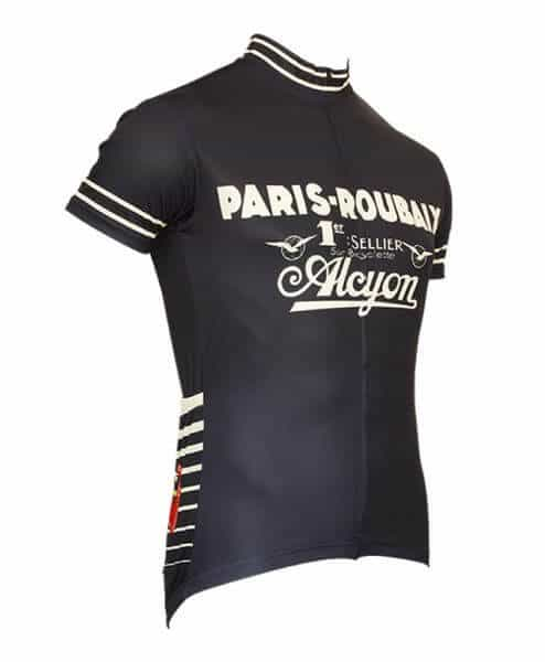 paris roubaix retro cycling jersey for men front blue