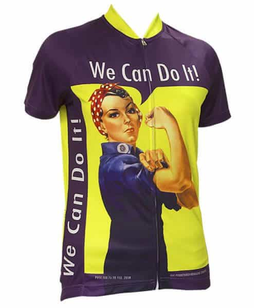 Retro Cycling Jersey Womens - Rosie Riveter - Retro Image Apparel - purple