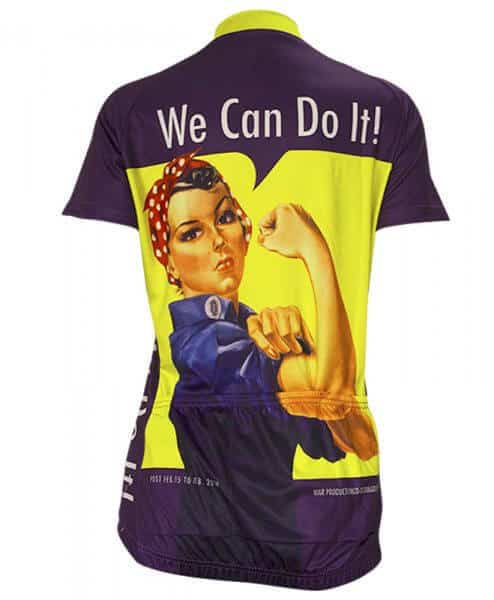 Retro Cycling Jersey Womens - Rosie Riveter - Retro Image Apparel - purple back