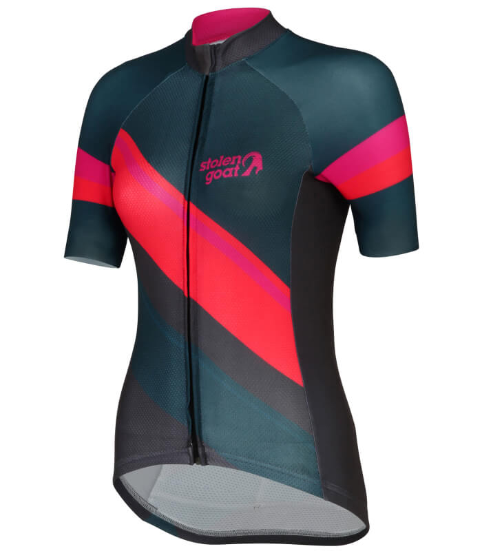stolen goat slipstream red short sleeve ladies cycling jersey side