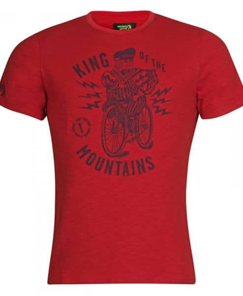 stolen goat mens cycling tshirt - king of the mountains red KOM t shirt front