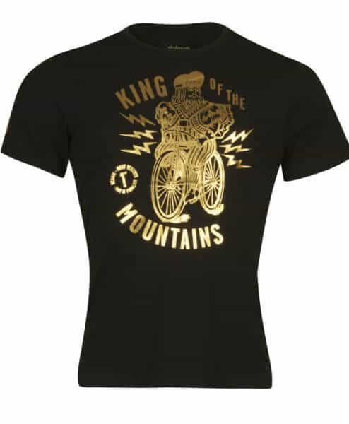 stolen goat king of the mountains t-shirt gold on black front