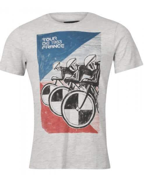 tour de france 1983 cycling t-shirt mens grey front