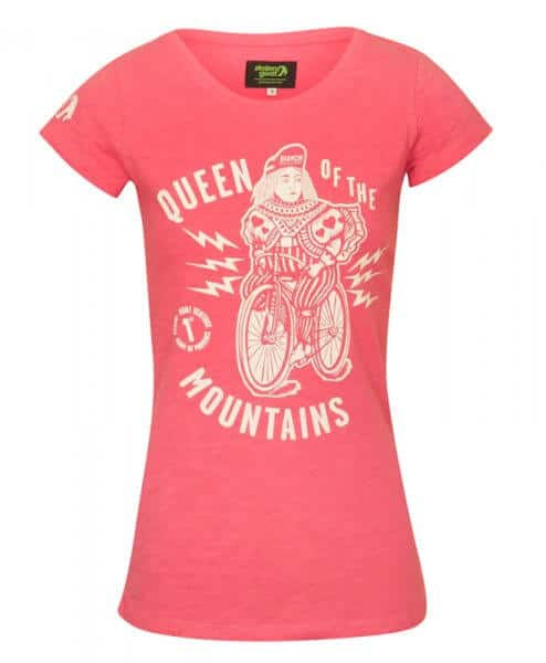 stolen goat ladies cycling pink tshirt queen of the mountains front