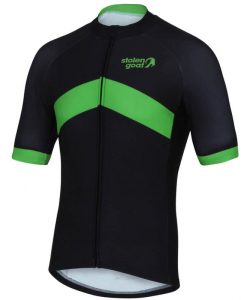 orkaan everyday waterproof cycling jersey ss black green back