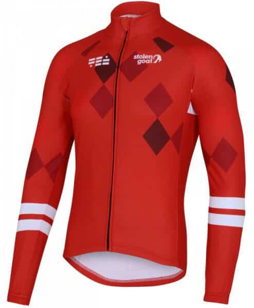mens long sleeve thermal cycling jersey diamon racer red front