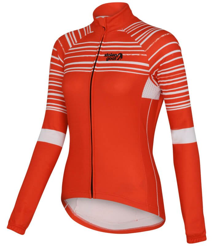 shredded red long sleeve womens cycling jersey front