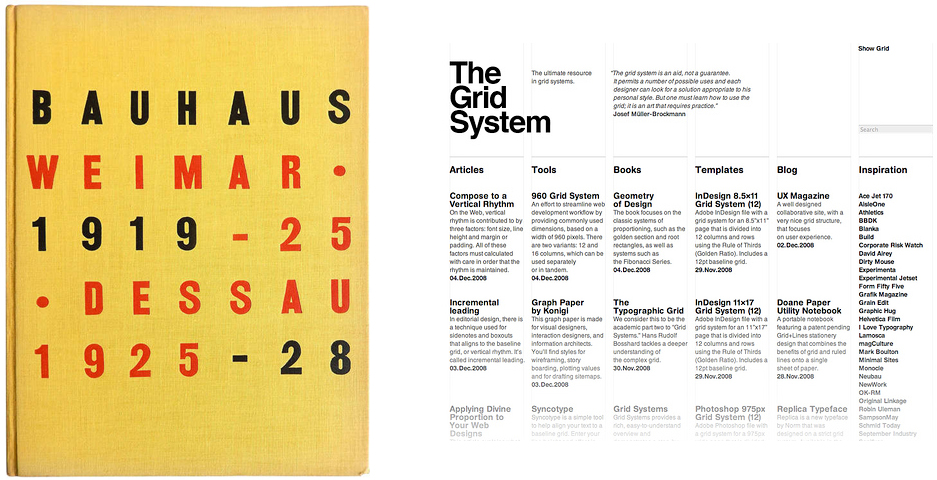 Bauhaus catalogue design and the grid in web design
