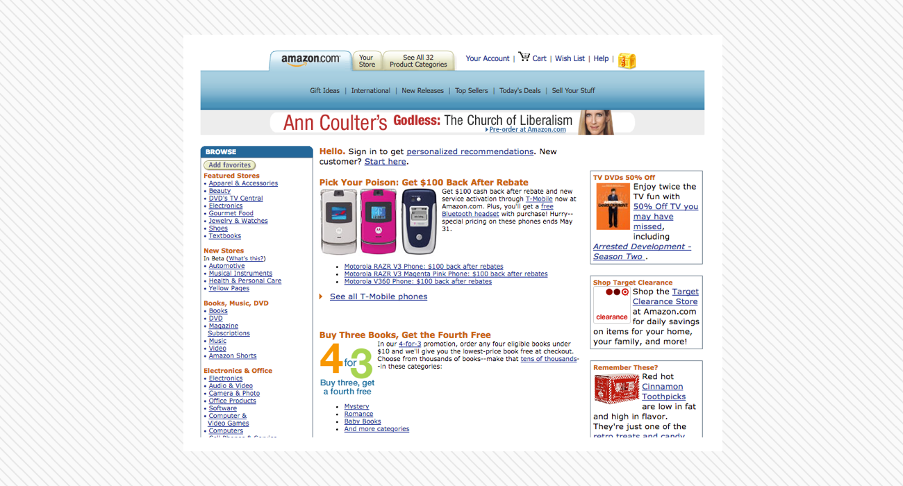 Amazon's old website