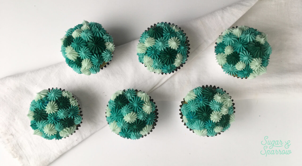 monochromatic cupcakes by Sugar and Sparrow