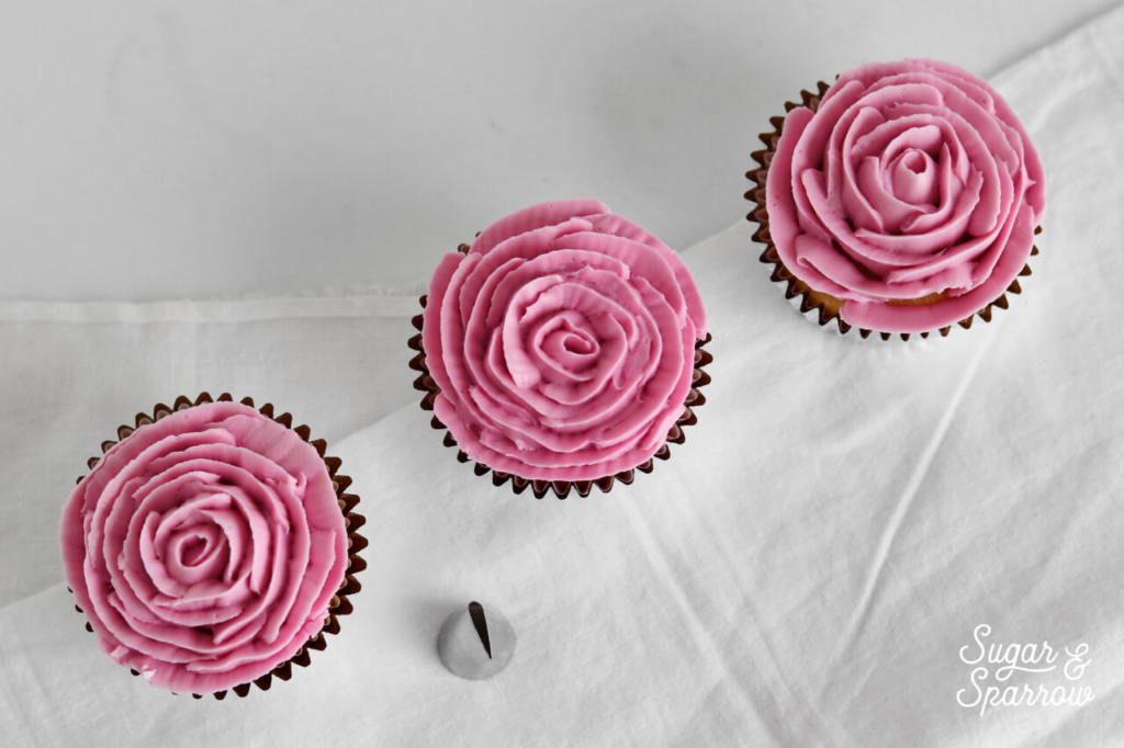 buttercream rose cupcakes by Sugar and Sparrow